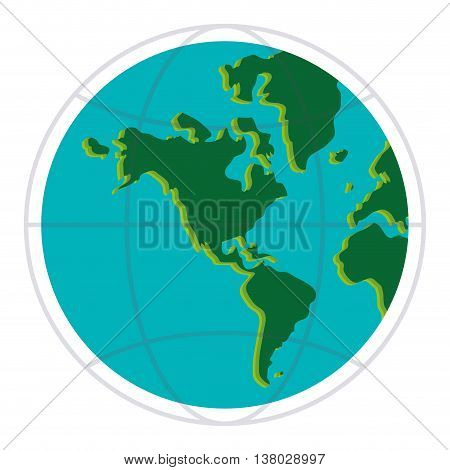flat design earth globe with latitudes and meridians icon vector illustration
