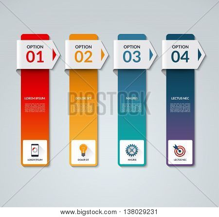 Infographic template. Business process concept with 4 arrows, options, steps, parts, vertical bars. Vector banner with the set of flat icons and design elements. Can be used for graph, chart, scheme