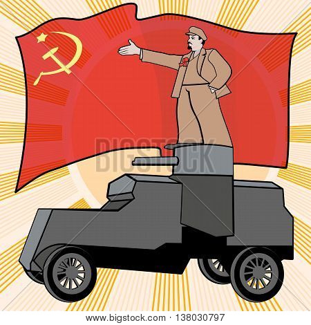 Lenin on the armored car on a background of the red flag. Poster satire vector illustration.