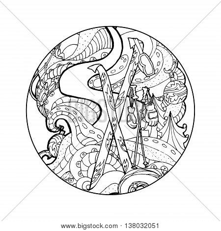 Black vector mono color illustration for Ski, Winter Sport print design.  Coloring book page design for adults or kids. Vector template.Ornamental border and frame