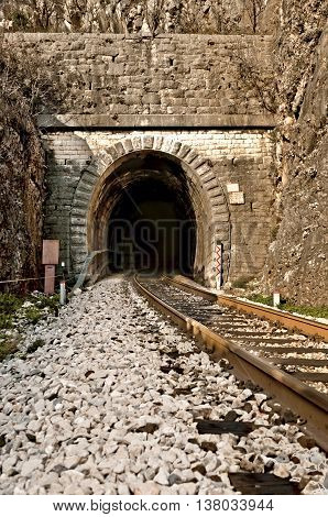 railroad tracks and old tunnel entrance in dalmatian hinterland near labin dalmatia croatia