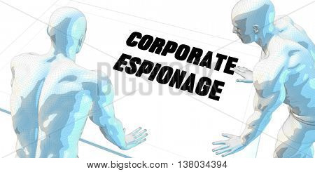 Corporate Espionage Discussion and Business Meeting Concept Art 3D Illustration