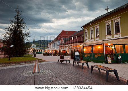 DOLNY KUBIN, SLOVAKIA - MAY 31, 2016: Main square of Dolny Kubin late in the evening on May 31, 2016.