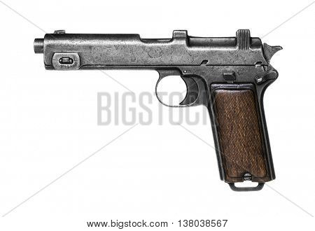 Old pistol isolated on white background