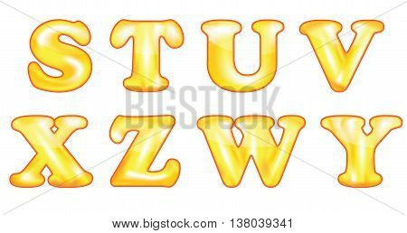 Vector latin alphabet symbols, also for print. Orange 2D Latin Alphabet (S,T,U,V,X,Z,W,Y), also for print.  Made from meshes.  Commercial Sign, Text, Typescript, Gold Colored