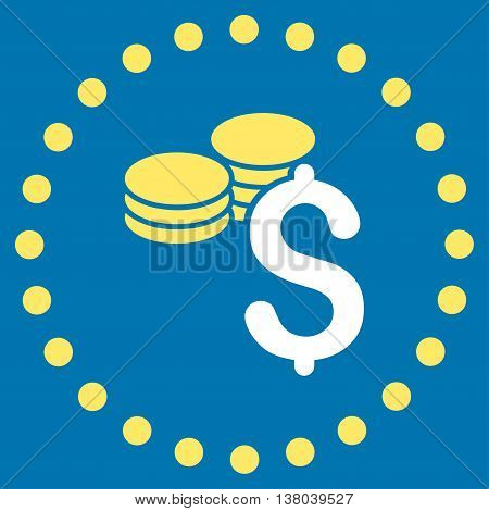 Dollar Coins vector icon. Style is bicolor flat circled symbol, yellow and white colors, rounded angles, blue background.