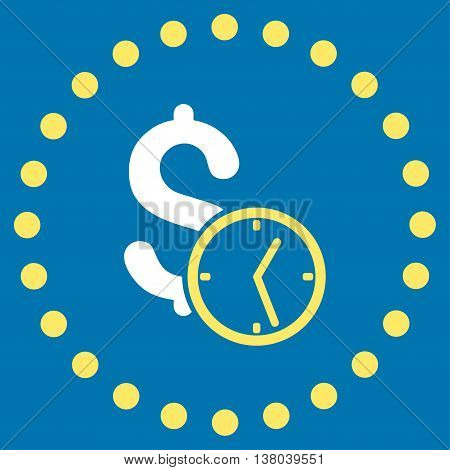 Dollar Credit vector icon. Style is bicolor flat circled symbol, yellow and white colors, rounded angles, blue background.