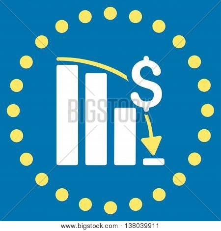Financial Crisis vector icon. Style is bicolor flat circled symbol, yellow and white colors, rounded angles, blue background.