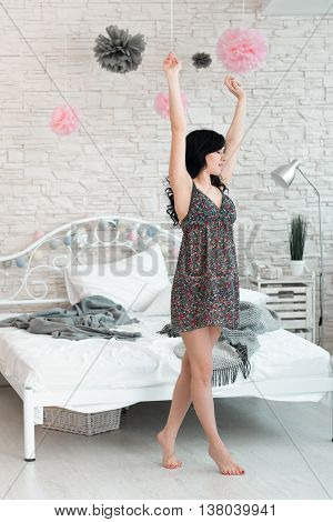 Woman Brunette Stretching Tiptoe Awaking Barefoot Bedroom Morning Concept