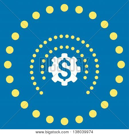 Financial Industry Protection vector icon. Style is bicolor flat circled symbol, yellow and white colors, rounded angles, blue background.