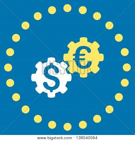 Financial Mechanics vector icon. Style is bicolor flat circled symbol, yellow and white colors, rounded angles, blue background.
