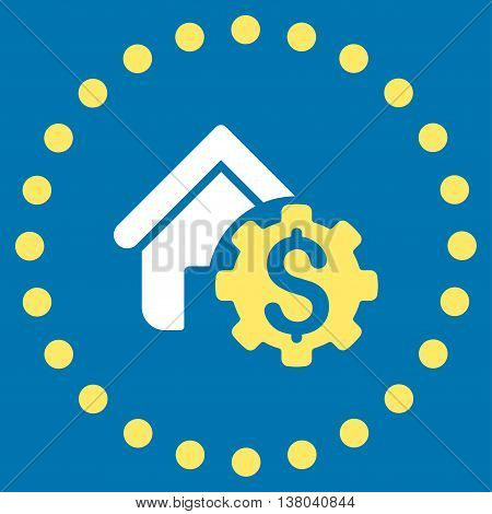 House Rent Options vector icon. Style is bicolor flat circled symbol, yellow and white colors, rounded angles, blue background.