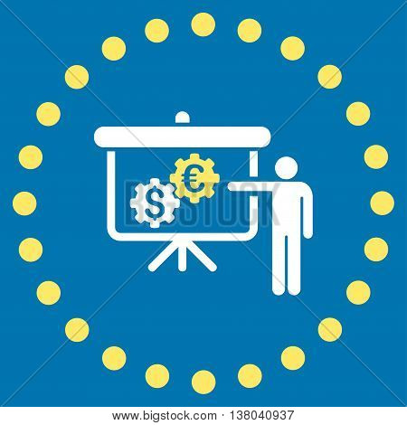 International Banking Project vector icon. Style is bicolor flat circled symbol, yellow and white colors, rounded angles, blue background.