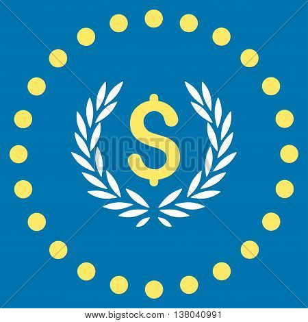 Laurel Bank Emblem vector icon. Style is bicolor flat circled symbol, yellow and white colors, rounded angles, blue background.