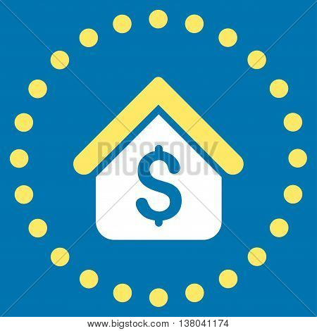Loan Mortgage vector icon. Style is bicolor flat circled symbol, yellow and white colors, rounded angles, blue background.