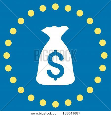 Money Bag vector icon. Style is bicolor flat circled symbol, yellow and white colors, rounded angles, blue background.