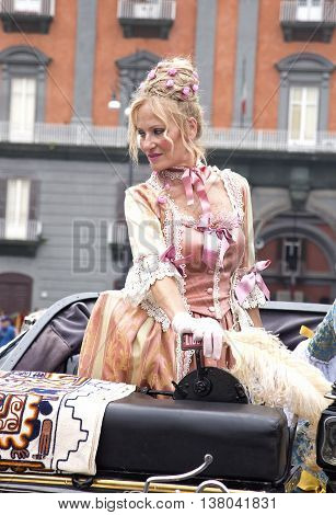 Naples Italy. May 29 2016: Participant of the parade of traditional carriages with actors in historical costumes to commemorate the anniversary of the birth of Charles of Spain who was King of Naples