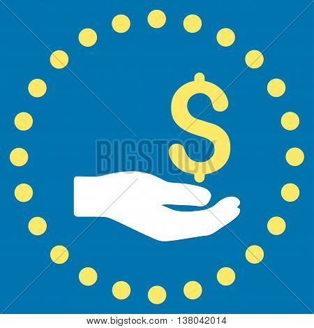 Payment vector icon. Style is bicolor flat circled symbol, yellow and white colors, rounded angles, blue background.