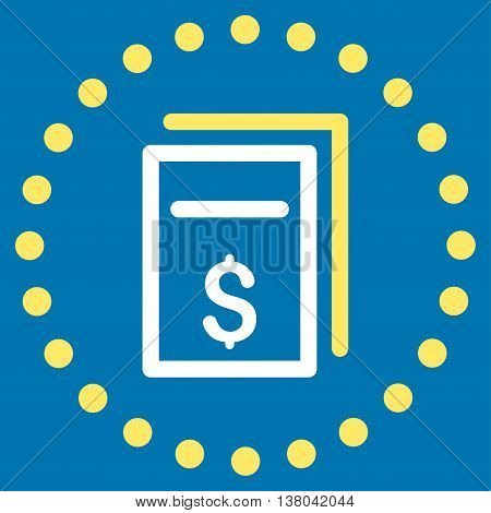 Price Copy vector icon. Style is bicolor flat circled symbol, yellow and white colors, rounded angles, blue background.