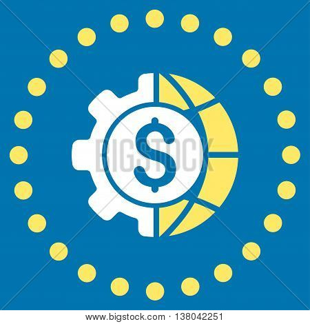 World Industry Finances vector icon. Style is bicolor flat circled symbol, yellow and white colors, rounded angles, blue background.