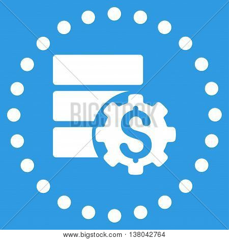 Bank Database Options vector icon. Style is flat circled symbol, white color, rounded angles, blue background.
