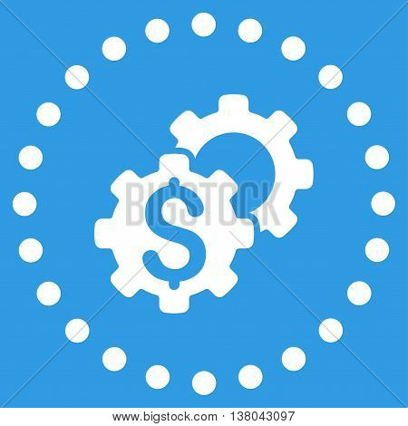 Bank Tuning vector icon. Style is flat circled symbol, white color, rounded angles, blue background.