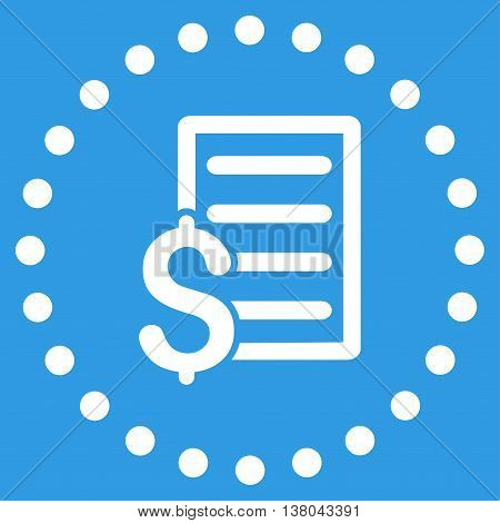 Contract vector icon. Style is flat circled symbol, white color, rounded angles, blue background.