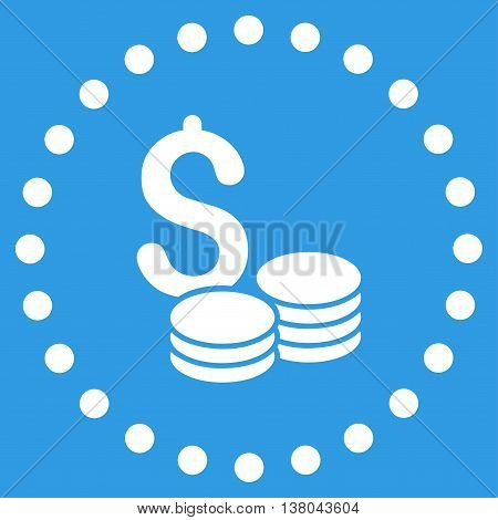 Dollar Cash vector icon. Style is flat circled symbol, white color, rounded angles, blue background.
