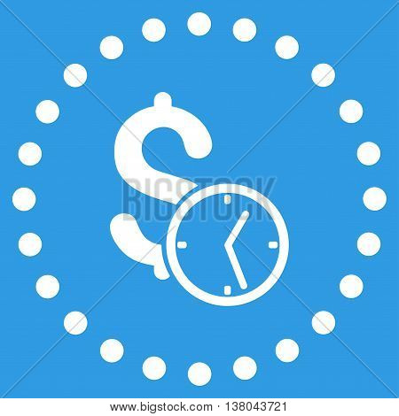 Dollar Credit vector icon. Style is flat circled symbol, white color, rounded angles, blue background.