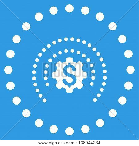 Financial Industry Protection vector icon. Style is flat circled symbol, white color, rounded angles, blue background.