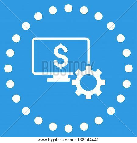 Financial Monitoring Options vector icon. Style is flat circled symbol, white color, rounded angles, blue background.