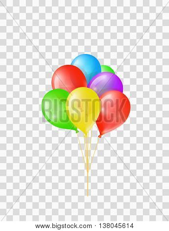 Bunch of colored transparent balloons on chequered background