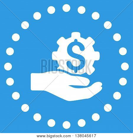 Industrial Service vector icon. Style is flat circled symbol, white color, rounded angles, blue background.