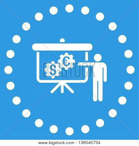 International Banking Project vector icon. Style is flat circled symbol, white color, rounded angles, blue background.