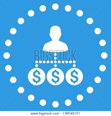 Money Collector vector icon. Style is flat circled symbol, white color, rounded angles, blue background.