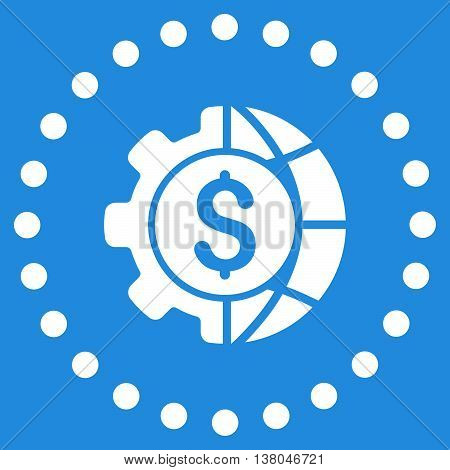 World Industry Finances vector icon. Style is flat circled symbol, white color, rounded angles, blue background.