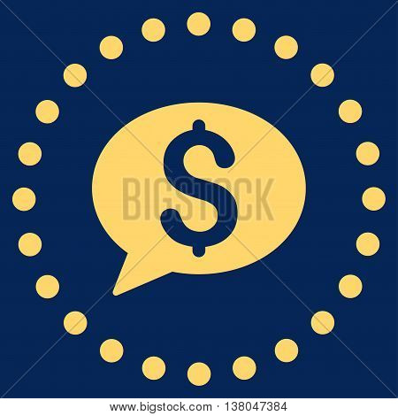 Bank Message vector icon. Style is flat circled symbol, yellow color, rounded angles, blue background.