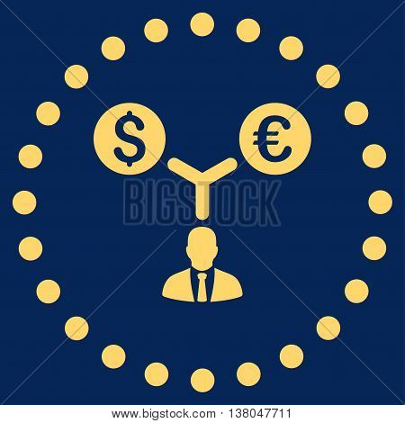 Currency Management vector icon. Style is flat circled symbol, yellow color, rounded angles, blue background.