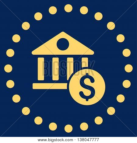 Dollar Bank vector icon. Style is flat circled symbol, yellow color, rounded angles, blue background.