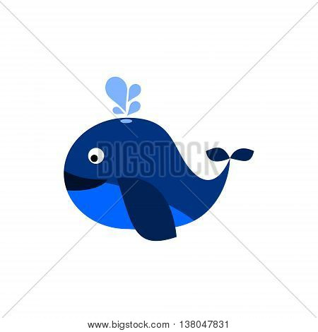 Blue whale with spout. Isolated vector illustration.