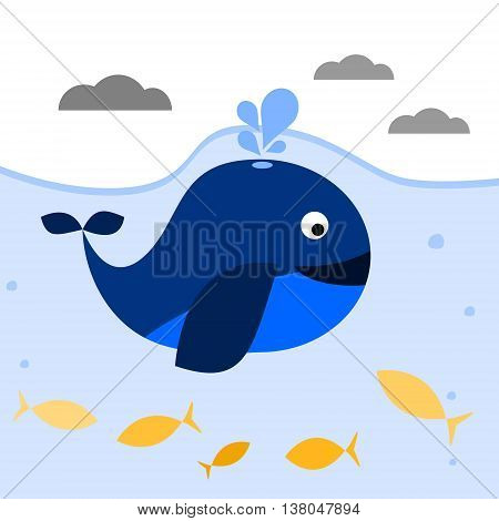 Blue whale with spout under water. Vector illustration.