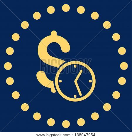 Dollar Credit vector icon. Style is flat circled symbol, yellow color, rounded angles, blue background.