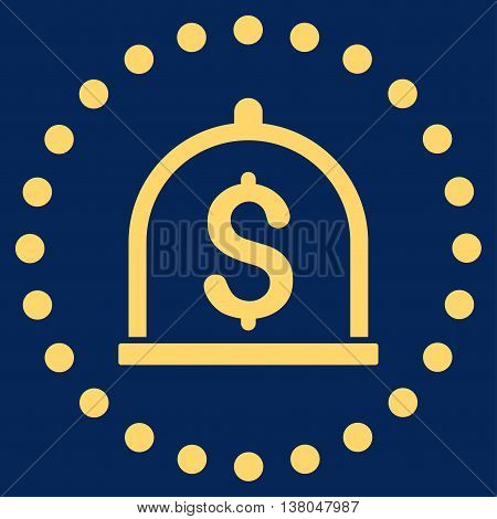 Dollar Deposit vector icon. Style is flat circled symbol, yellow color, rounded angles, blue background.