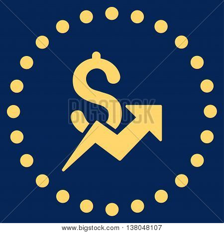 Dollar Growth vector icon. Style is flat circled symbol, yellow color, rounded angles, blue background.