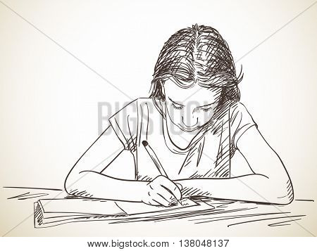 Elementary schoolgirl writing in exercise book, Hand drawn illustration, Vector sketch