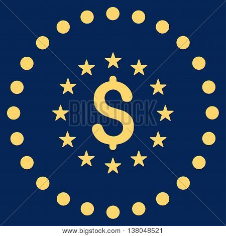 Dollar Stars vector icon. Style is flat circled symbol, yellow color, rounded angles, blue background.