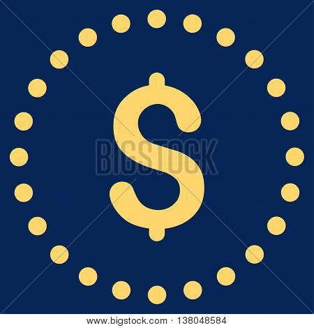 Dollar Symbol vector icon. Style is flat circled symbol, yellow color, rounded angles, blue background.