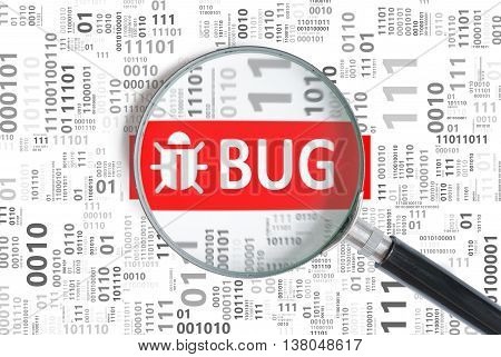 Software development and debugging concept. Bug found in binary code with magnifying glass.
