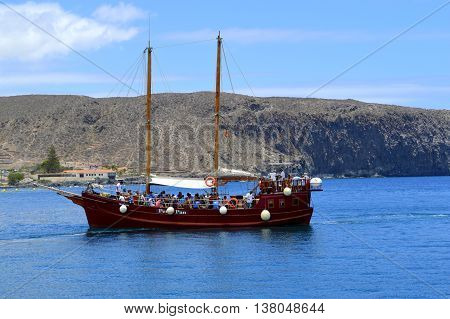 Los Cristianos Tenerife Canary Islands Spain Europe - June 15 2016: Tourists going on a sea tour on the Peter Pan sailing ship