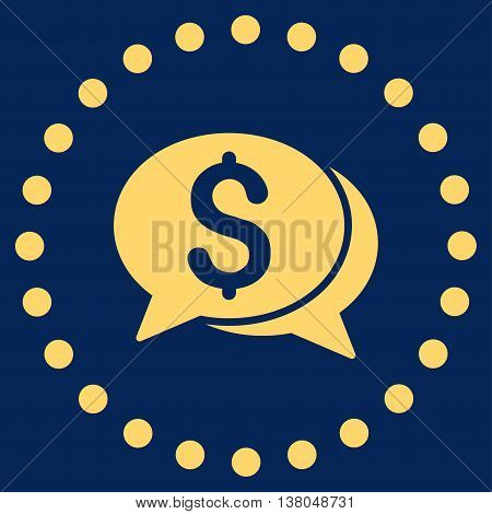 Financial Chat vector icon. Style is flat circled symbol, yellow color, rounded angles, blue background.